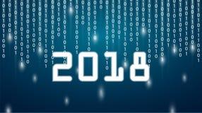 Calibre de design de carte de salutation avec le texte moderne pour 2018 nouveaux Image libre de droits