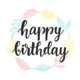 Calibre de design de carte de salutation de joyeux anniversaire avec la guirlande mignonne illustration stock