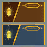 Calibre de design de carte de salutation de kareem de Ramadan avec la lampe Images stock