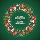 Calibre de design de carte de salutation de Noël et de nouvelle année illustration stock