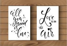 Calibre de deux affiches avec des inscriptions de calligraphie Blanc noir d'anf Photos stock