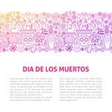 Calibre de Dia De Los Muertos Line Design illustration stock