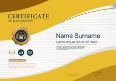 Calibre de disposition de calibre de conception de cadre de certificat dans la taille A4 Images stock