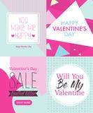 Calibre de disposition de design de carte de jour du ` s de quatre Valentine avec le rose mignon et la Tosca Blue Color illustration de vecteur