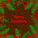 Calibre de fond de carte d'hiver avec des branches d'arbre de Noël et des baies de sorbe rouges sur la texture en bois illustration stock