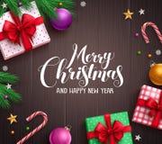 Calibre de fond de vecteur de bannière de Noël avec la typographie de salutation de Joyeux Noël illustration stock