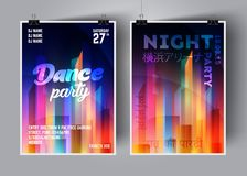 Calibre de fond de vecteur d'affiche ou d'insecte de soirée dansante avec une ville de nuit dans la lueur au néon et les couleurs illustration de vecteur