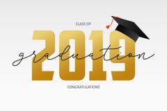 Calibre de graduation de carte Classe de 2019 - bannière avec les nombres et la taloche d'or Concept des félicitations pour l'obt illustration stock