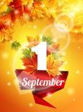Calibre de haute qualité à partir du 1er septembre, feuilles d'automne réalistes, le premier appel Ruban rouge le 1er septembre b Image libre de droits