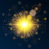 Calibre de haute qualité lumineux d'or pour la nouvelle année et le Noël Employez l'effet lumineux de lumière du soleil Illustrat Images stock