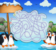 Calibre de jeu avec des penquins sur l'iceberg Images libres de droits