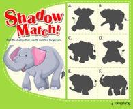 Calibre de jeu pour l'éléphant étant assorti d'ombre Photo stock