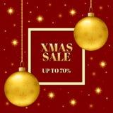Calibre de la vente de Noël de la bannière Boules réalistes avec des flocons de neige Images stock
