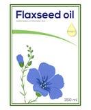 Calibre de label d'huile de Flaxeed, autocollant Image libre de droits