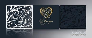 Calibre de laser pour les cartes se pliantes, invitations, par l'ornement, estampillage d'or Décor de carte, modèle à jour stylis illustration stock