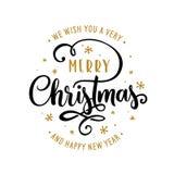 Calibre de lettrage de Joyeux Noël et de bonne année Carte de voeux ou invitation Illustration de vintage de vecteur illustration stock