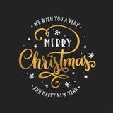 Calibre de lettrage de Joyeux Noël et de bonne année Carte de voeux ou invitation Illustration de vintage de vecteur illustration libre de droits