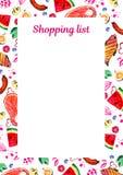 Calibre de liste d'épicerie avec l'illustration d'aquarelle des fruits assortis Concevez pour les carnets d'impression et le plan illustration libre de droits