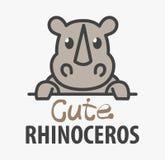Calibre de logo avec le rhinocéros mignon Calibre de rhinocéros de conception de logo de vecteur pour le zoo, cliniques vétérinai illustration stock