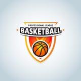 Calibre de logo de basket-ball, logotype de basket-ball, calibre de conception de logo d'insigne, calibre de logotype de sport Photos stock