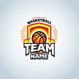 Calibre de logo de basket-ball, logotype de basket-ball, calibre de conception de logo d'insigne, calibre de logotype de sport Image libre de droits