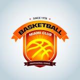 Calibre de logo de basket-ball, logotype de basket-ball, calibre de conception de logo d'insigne, calibre de logotype de sport Photographie stock libre de droits