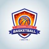 Calibre de logo de basket-ball, logotype de basket-ball, calibre de conception de logo d'insigne, calibre de logotype de sport Photo stock