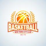 Calibre de logo de basket-ball, logotype de basket-ball, calibre de conception de logo d'insigne, calibre de logotype de sport Images stock