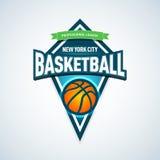 Calibre de logo de basket-ball, logotype de basket-ball, calibre de conception de logo d'insigne, calibre de logotype de sport Ca Photos libres de droits
