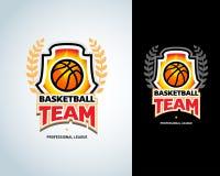 Calibre de logo de basket-ball, logotype de basket-ball, calibre de conception de logo d'insigne Calibre orienté de T-shirt de ba Illustration Stock