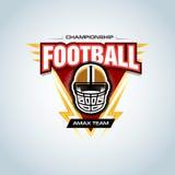Calibre de logo de football américain, insigne, T-shirt, label, emblème Casque de football Illustration de vecteur illustration stock