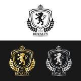 Calibre de logo de monogramme de vecteur Conception de luxe de couronne Illustration gracieuse de silhouettes de griffons de vint illustration libre de droits