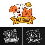 Calibre de logo de vecteur avec le chat et le chien Photos libres de droits