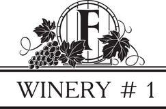 Calibre de logo pour l'établissement vinicole ou la boutique de vin Photographie stock libre de droits