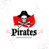 Calibre de logotype de crâne de pirates, insigne, logo, emblème Illustration d'isolement de logotype de pirate Photo stock