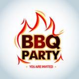 Calibre de logotype de partie de BBQ avec des flammes Logo de partie de barbecue, calibre d'invitation de partie Illustration d'i Photo stock