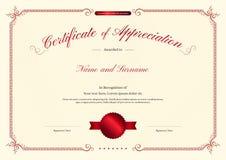 Calibre de luxe de certificat avec le cadre élégant de frontière, conception de diplôme illustration de vecteur