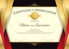 Calibre de luxe de certificat avec la frontière rouge et d'or élégante f Images libres de droits
