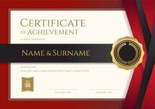 Calibre de luxe de certificat avec le cadre élégant de frontière, diplôme d Photo libre de droits