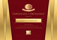 Calibre de luxe de certificat avec le cadre d'or élégant de frontière, Di Images stock