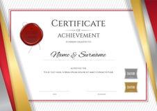 Calibre de luxe de certificat avec le cadre d'or élégant de frontière, Di Photos stock