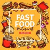 Calibre de menu d'affiche de restaurant d'aliments de préparation rapide de vecteur Image stock