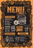 Calibre de menu d'hamburger pour le restaurant sur le tableau noir illustration de vecteur