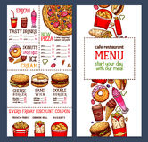 Calibre de menu de restaurant d'aliments de préparation rapide de vecteur Illustration Stock