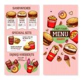 Calibre de menu de restaurant d'aliments de préparation rapide de vecteur Photographie stock