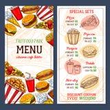 Calibre de menu de vecteur de restaurant d'aliments de préparation rapide Photo stock