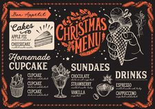 Calibre de menu de Noël pour le restaurant de dessert illustration stock