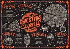 Calibre de menu de Noël pour le restaurant de pizza sur le tableau noir illustration stock