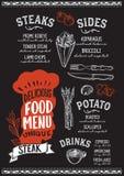 Calibre de menu de nourriture de bifteck pour le restaurant avec le lettrage de chapeau de chefs illustration de vecteur