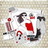 Calibre de mode de vintage de chute avec les vêtements à la mode Image stock